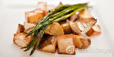 Diabetic recipe for roasted new potatoes, fennel, garlic, and asparagus.  Easy diabetic side dish, and DiabeticLifestyle always includes full nutritional and diabetic exchange information for people with type 1 diabetes and type 2 diabetes.