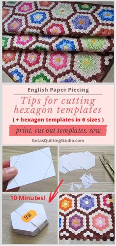 Do you need hexagon templates NOW? Learn a quick and easy technique for cutting hexagon Hexagon Quilt Pattern, Hexagon Patchwork, Quilt Patterns, Block Patterns, Quilting Tutorials, Quilting Designs, Paper Peicing Patterns, English Paper Piecing, Couture