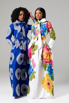 (Pre-Order, Ships in Weeks) African Print White Floral Pussy-bow Maxi Dress - Thalia African Maxi Dresses, Ankara Dress, African Attire, African Wear, African Women, African Print Fashion, Africa Fashion, Chic Outfits, Fashion Outfits