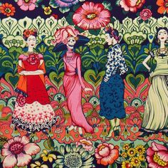 1m Frida La Catrina Dark Marine Alexander Henry Fabric PER METRE Kahlo Blue