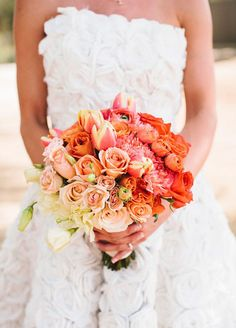 8 Ombré Wedding Ideas That Are Too Pretty Not To Try: Grouping your flowers from the deepest to palest colors creates a unique and dramatic bouquet. Photo by Josh Elliott Photography; Floral by Briana Maxson
