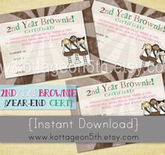 SALE - Second Year End Brownie Certificates - 4x6 Instant Download Scout Girl Award - 1st 2nd - Bridging Ceremony - Printable JPEG File - Love it?  Help support small business (and fellow Girl Scout mama) by purchasing this listing and MORE at www.kottageon5th.etsy.com