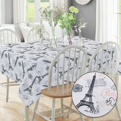 Beatrice Paris Rectangle Kitchen Tablecloth Eiffel Tower Hearts White Pink Black, 60 x 102 – Kitchen Accessories – Home & Kitchen Paris Eiffel Tower, Eiffel Towers, Paris Home Decor, Kitchen Tablecloths, Paris Theme, Shabby Chic Style, Kitchen Accessories, Cottage Style, Home Accents