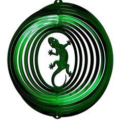 "12"" Gecko - Green Starlight Wind Spinner. #gecko #windspinner"
