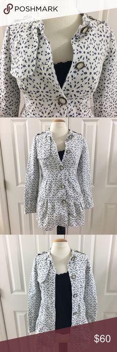 "Anthropologie Elevenses Eyelet Trench Coat Sz 0 Cute Anthropologie Elevenses Eyelet Trench Coat Jacket White with blue eyelet Size 0 In great pre-owned condition. Missing neck strap belt Perfect for spring Armpit to armpit: 17""  Length: 31""  Arms 25.5"" Anthropologie Jackets & Coats Trench Coats"