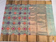 Sea blue pure zari tissue kota with all over thread weaving ikkath design