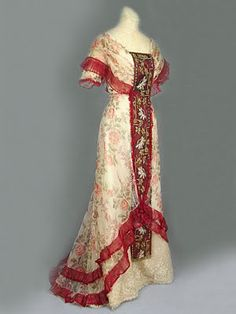 edwardian suits women | Floral tulle dress with beaded/embroidered panels, c.1905.