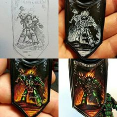 Freehand painting a banner Warhammer Paint, Warhammer Models, Warhammer Fantasy, Warhammer 40000, Fantasy Paintings, Mini Paintings, Cool Paintings, Salamanders 40k, Salamanders Space Marines