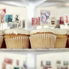 Breathe new life into vintage stamps by transforming them into cupcake topper flags! Just one of many creative DIY wedding ideas....