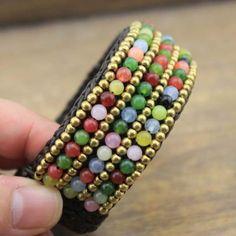 Natural agate braided bracelet, cuff bracelet, agate bracelet, ETS - B246