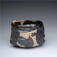 Artist: Shigemasa Higashida, Title: Kuro Oribe Teabowl  - click for larger image