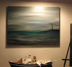 Foggy lighthouse painting seascape lighthouse by StacysArtStudio Lighthouse Decor, Lighthouse Painting, Imagination Art, Sea Art, Painted Canvas, Surreal Art, Annie Sloan, Lighthouses, Light Decorations