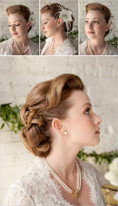 wedding hair  pretty - i'm not a huge fan of the front, i'd do something a little different - since i have such a round head Vintage Wedding Hair, Short Wedding Hair, Vintage Updo, Vintage Bridal, Elegant Wedding Hair, Vintage Style, Wedding Updo, Wedding Hairstyles For Long Hair, Trendy Wedding