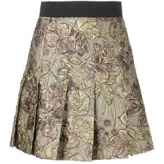 Dolce & Gabbana Jacquard Floral Lurex Skirt ($1,745) ❤ liked on Polyvore featuring skirts, mini skirts, gold, stretch mini skirt, floral skirt, pleated skirt, short brown skirt and brown skirt