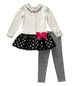 Youngland Ivory & Black Polka Dot Tunic & Leggings - Toddler | zulily