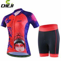 CHEJI Women Cycling Jersey Short Sleeve Ropa Ciclismo Bike Bicycle Gel Padded Short Girls Bike Wear Set #Affiliate