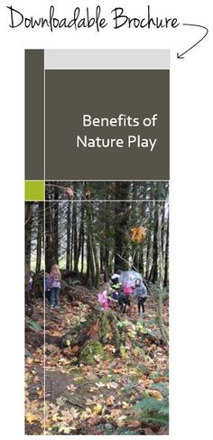 Benefits of Nature Play Brochure. We will be focusing on nature and Outdoor play on our upcoming training day. Outdoor Learning Spaces, Outdoor Education, Forest School Activities, Nature Activities, Natural Play Spaces, Natural Playground, Environmental Education, Outdoor Classroom, Exterior
