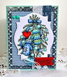 Two high-spirited images knock 'em out with a punch of FUN! Ribbon meanders through boxwood branches, fuzzy snow puffs, mismatched mittens, and a special heart for a bough image that's whimsical and t