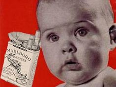 a baby & cigarettes. no brainer. For the first half of the 20th century, virtually unregulated, tobacco companies used cigarette spokespeople that are laughable to modern audiences such as doctors and babies. Tobacco ads even claimed cigarettes were a cure-all product that could help lose weight and ease symptoms of asthma. In the 1960s consumers became more aware that smoking leads to cancer, and in 1965 legislation passed that mandated that cigarette packs and advertisements have warnings.