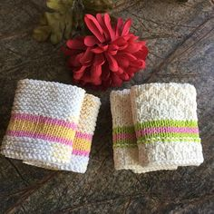 Hand knitted dishcloths/washcloths/facecloths Price is for a set of 2 dishcloths. Three sets to choose from. Dishcloths measure approx. 8.5 x 8.5 Machine wash and dry. Cotton My items are made in a non-smoking home. Colors on the monitor may vary slightly from the original