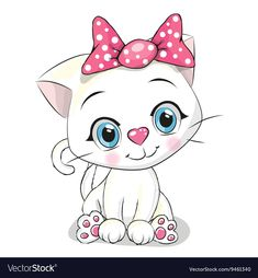Illustration of Cute Cartoon white kitten on a white background vector art, clipart and stock vectors. Kitten Baby, Grumpy Cat Quotes, Baby Animals, Cute Animals, Black And White Kittens, Cat Whisperer, Cute Kittens, Labrador Retriever Mix, Cute Cartoon