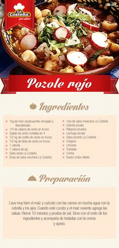 Pozole rojo. #receta #mexicana #lacosteña