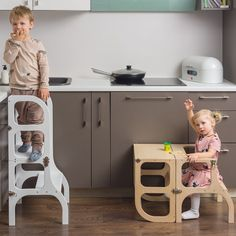 """Helper tower / table / chair all-in-one """"Step'n'sit"""", Montessori learning helper tower, kitchen step stool Toddler Kitchen Stool, Kitchen Step Stool, Toddler Chair, Kitchen Stools, Step Stools, Learning Tower, Diy Stool, Kitchen Helper, Woodworking Projects"""