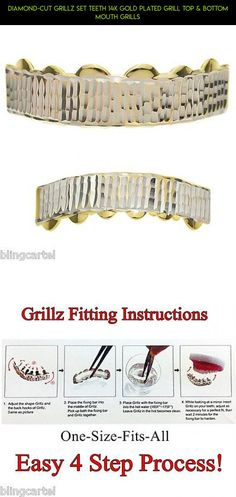 Diamond-Cut Grillz Set Teeth 14k Gold Plated Grill Top & Bottom Mouth Grills #plans #racing #technology #diamond #parts #drone #tech #products #grills #shopping #camera #teeth #fpv #gadgets #kit