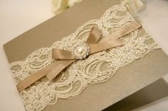 lace and pearl wedding invitation