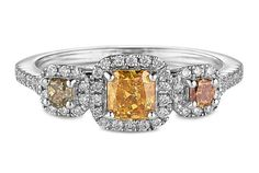 Three-Stone Halo Fancy Yellow Diamond Ring - in 18kt White Gold - (0.76 CTW) - Table