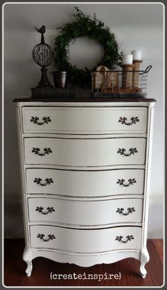 {createinspire}: French Provincial in Antique White -- I hope to be able to do this with furniture some day.  Beautiful!