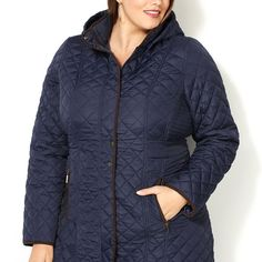 Mixed Quilt Walker Coat with Hood-Plus Size Quilted Coat-Avenue