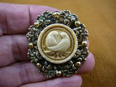 DOVES bird love birds ivory Cameo Pin Pendant Jewelry brooch necklace repro Brass CS7-15. via Etsy.