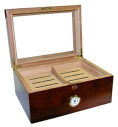 Quality Importers Desktop Humidor, Milano Glasstop The milano glass top medium desktop humidor comes completely lined with premium kiln-dried spanish cedar and Top Cigars, Light Em Up, Ammo Cans, Cigar Humidor, Laser Engraving, Gifts For Friends, Cool Things To Buy, Desktop, Wood