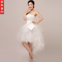 2013 new arrival wedding dress formal dress tube top short front with trailing white lace bride flower strap wedding dress US $35.00