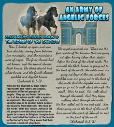 AN ARMY OF ANGELIC FORCES//Zechariah's Eighth Vision & the Riders of the Chariots (Zechariah 6:1-3) (Zechariah 6:5-8)