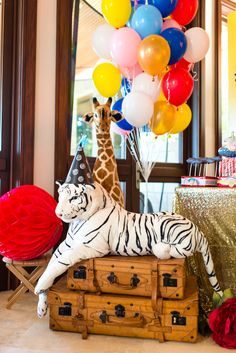 Plush tiger from a Showtime Circus Birthday Party on Kara's Party Ideas | KarasPartyIdeas.com (10)