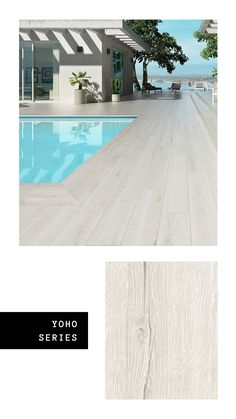 The wood-effect tile is a trend that has recently evolved and brought those desi. The wood-effect tile is a trend that has recently evolved and brought those designs to terraces and Pool Paving, Swimming Pool Tiles, Natural Swimming Pools, Swimming Pool Designs, Pool Landscaping, Natural Pools, Backyard Pool Designs, Small Backyard Pools, Swimming Pools Backyard