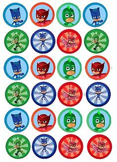 20 EDIBLE IMAGE PJ MASK CUPCAKE TOPPERS Unbranded*