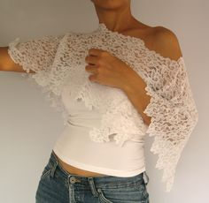 Lace bolero, bridal capelet, shoulder wrap, shabby chic,  off white cotton lace, romantic top shrug, handmade, unique design. $35.00, via Etsy.