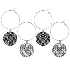 Elegant Black And White Floral Damask Boho Pattern Wine Charms
