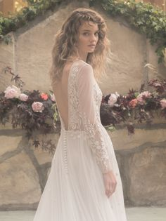 Bespoke, couture wedding gown, hand-embroidered with an array of wildflowers, featuring long sleeves and open back. Couture Wedding Gowns, Couture Dresses, Wedding Dresses, Bespoke, Wedding Styles, Hair Makeup, Bridal, Elegant, Outfits