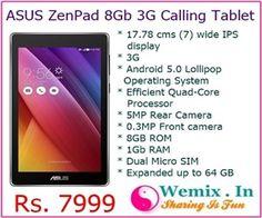 ASUS ZenPad 8GB 3G Calling Tablet Rs 7999