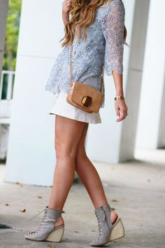 Shannon Jenkins of Upbeat Soles styles a fall transition outfit with a Chicwish grey lace top, denim button up skirt, and Rebecca Minkoff lace up wedges White Outfits, Trendy Outfits, Cool Outfits, Lace Up Wedges, Lace Up Booties, Fall Transition Outfits, Button Up Skirts, Florida Fashion, Womens Fashion
