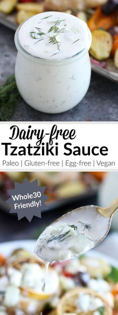 Paleo Tzatziki Sauce is a garlicky and flavorful sauce that's made with just 6 simple real food ingredients. | http://therealfoodrds.com/paleo-tzatziki-sauce/