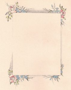 Vintage Rectangular Floral Frame ~ From 'Our Baby Book' by famous children's illustrator Janet Laura Scott, 1938.