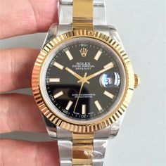 Rolex Rolex Date Just II 41mm SS/YG Black Dial Lumed Marker Bracelet A3136