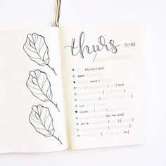 Bullet journal daily layout, leaf drawings, hand lettering. | @ajournalbyannie