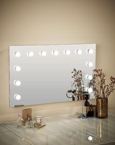 Hollywood Mirror Wall Mounted XL | Makeup Mirror with Lights | Dressing Table Mirror with Lights | Vanity Mirror with Lights | Illuminated Makeup Mirror | Holllywood Mirror UK | Light Up Makeup Mirror | Hollywood Mirrors | Mirror Size 60 X 100cm