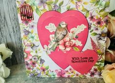 """Beautiful handmade valentines card featuring a lovely little bird amongst the blossoms and lots of love hearts. Inside there is a lacy heart and opposite the words """"With Love From Me To You """" Measures approx x and will be sent in a cardboard enve. Valentines Flowers, Valentine Day Love, Little Birds, Love Heart, Gift Guide, February, Card Making, Wildlife, Greeting Cards"""